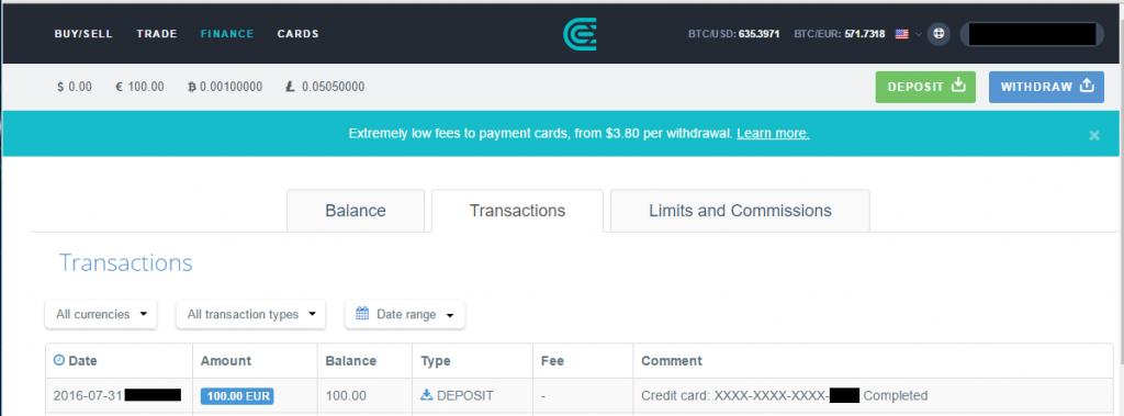 CEX.io - Einzahlung komplett