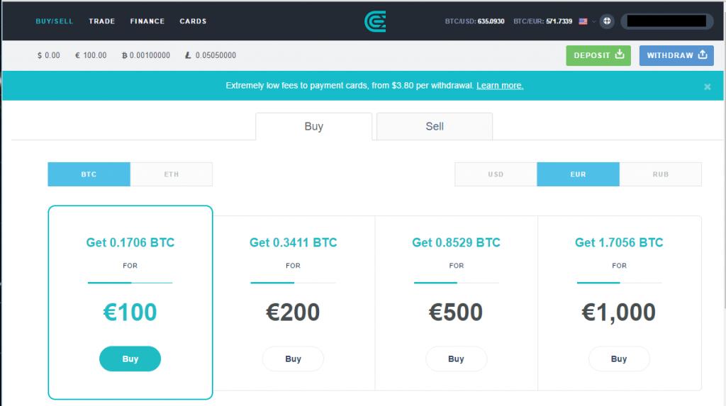 CEX.io - Bitcoins für 100 EUR kaufen