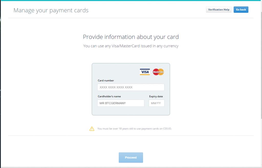 CEX.io - Kreditkarte hinzufügen