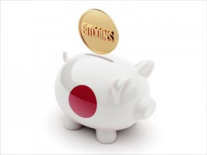 Japan Bitcoin Concept Piggy Concept
