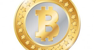 vector illustration of a coin with bitcoin sign
