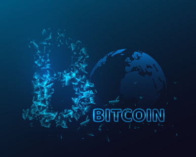 Bitcoin sign with glowing explosion effect