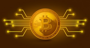 Golden bitcoin digital currency. vector illustration