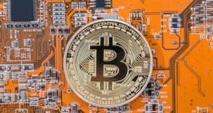 cryptocurrency, bitcoin above orange close up