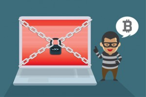 Hacker demand Bitcoin payments to restore computer systems. Illustration about Wanna Cry Ransomware Virus.