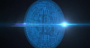 Digital Bitcoins, new virtual money on background, 3D render