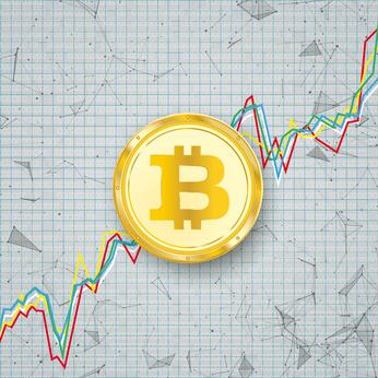 Chart Golden Bitcoin Coin Digital Network Connected Dots