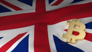 Bitcoin Currency Symbol on Flag of United Kingdom