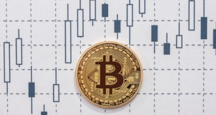bitcoin on graph. concept of trading cryptocurrency