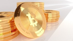 Gold bitcoin internet money 3d visualisation
