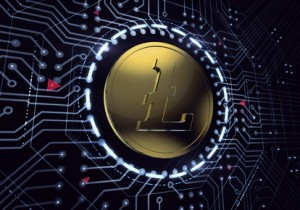 Digital Litecoin in electronic cyberspace. 3D rendered graphics.