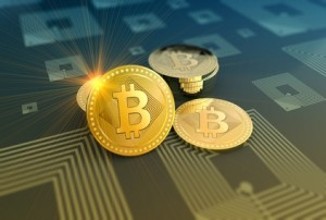 Shiny bitcoins crypto-currency background