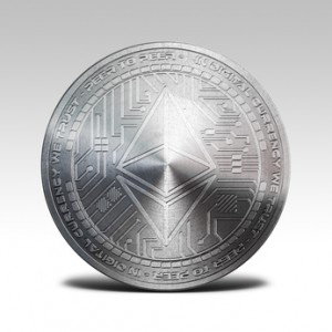 silver ethereum coin isolated on white background 3d rendering