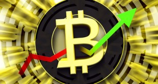 Bitcoin sign. New trading concept of crypto currency with arrow pointing up. Fintech Investment