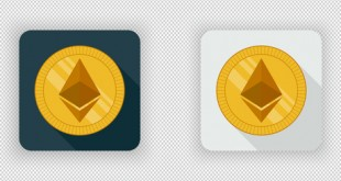 Light and dark crypto currency icon Ethereum