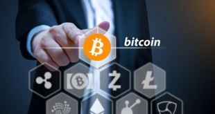 Business man points his finger at Bitcoin, Concept of Cryptocurrency, a digital currency