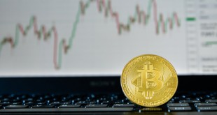 bitcoin against the backdrop of stock quotes on the stock exchange