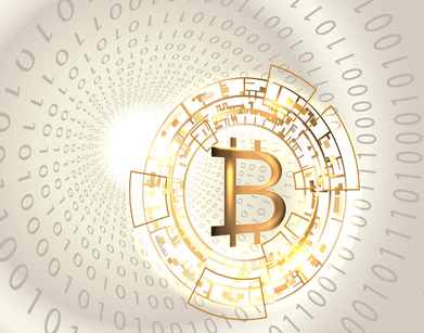 Bitcoin symbol and binary code.