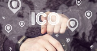 Initial Coin Offering (ICO). Businessman presses button ICO Initial Coin Offering in network shield security virus user interface.