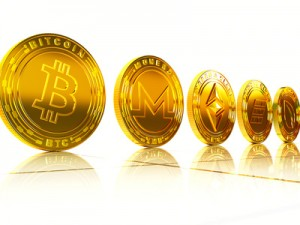 Crypto currency. The coin with the symbol. Metal coin.