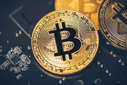 Cryptocurrency golden bitcoin coin. Conceptual image for crypto currency