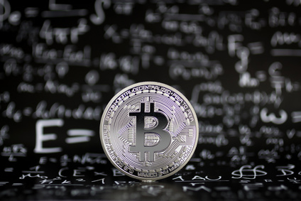 Bitcoin, the background is a formula to calculate the answer. Digging for a bit coin