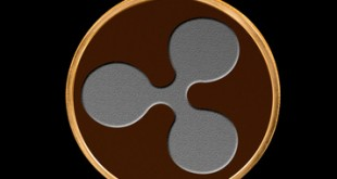 Illustration of Ripple coin with black background
