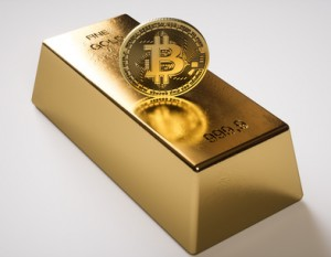 Bitcoin and gold bar