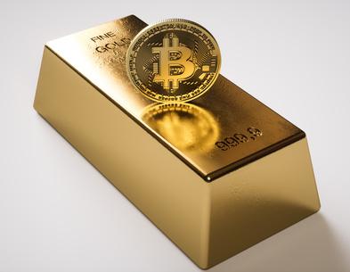 Bitcoin and gold bar