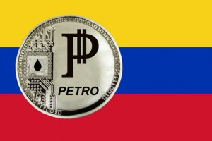 Coin Cryptocurrency Venezuela Petro on the background of the flag of Venezuela.