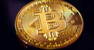Bitcoin closeup on black background