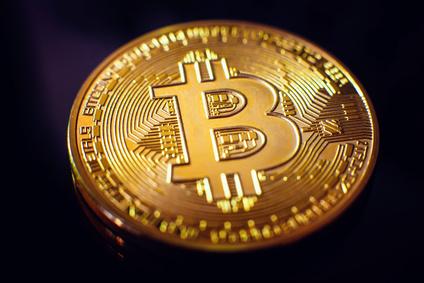 Bitcoin closeup on black background