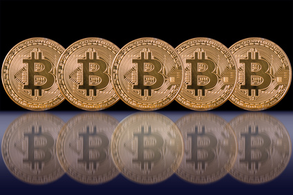 Closeup Five Bitcoins mockup with reflection on black color background, cryptocurrency and isolate concept, Include clipping path