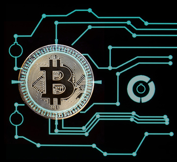 Bitcoin Digital cryptocurrency. Golden coin with bitcoin symbol over black background and blue conection lines