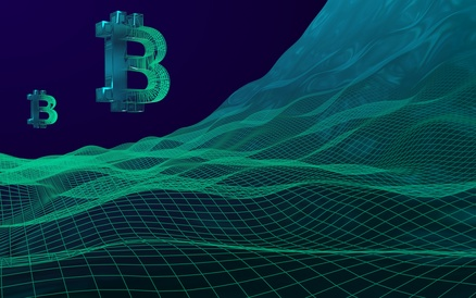 Digital currency symbol Bitcoin on abstract dark background. Business, finance and technology concept. 3D illustration