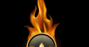 Eos Cryptocurrency Coin On Fire Background