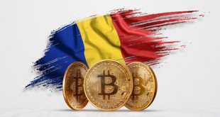 Crypto currency, gold coin BITCOIN BTC. Coin bitcoin against the background of the flag of Romania. The concept a new currency, Blockchain Technology , a token. Mixed media