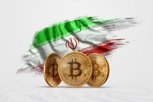Crypto currency, gold coin BITCOIN BTC. Coin bitcoin against the background of the flag of Iran. The concept a new currency, Blockchain Technology , a token. Mixed media