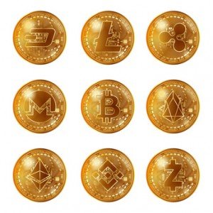 Golden cryptocurrency coins set