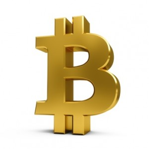 3D Rendering golden Bitcoin Sign isolated on white background