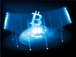 Cryptocurrency icon with cyber digital style on blue background:BTC icon
